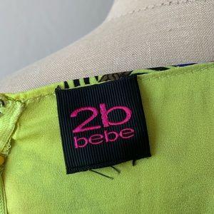 2B Bebe Dresses - 2b by bebe Neon Green Orchid Print Dress